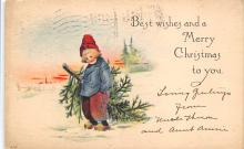 xms001143 - Christmas Post Card Old Vintage Antique Xmas Postcard