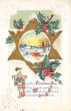 xms001153 - Christmas Post Card Old Vintage Antique Xmas Postcard