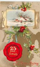 xms001161 - Christmas Post Card Old Vintage Antique Xmas Postcard