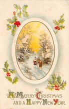 xms001213 - Christmas Post Card Old Vintage Antique Xmas Postcard