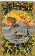 xms001217 - Christmas Post Card Old Vintage Antique Xmas Postcard