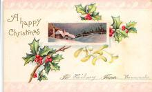 xms001235 - Christmas Post Card Old Vintage Antique Xmas Postcard