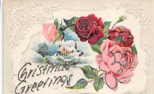 xms001239 - Christmas Post Card Old Vintage Antique Xmas Postcard