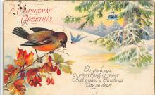xms001263 - Christmas Post Card Old Vintage Antique Xmas Postcard