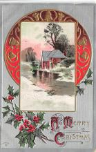 xms001303 - Christmas Post Card Old Vintage Antique Xmas Postcard