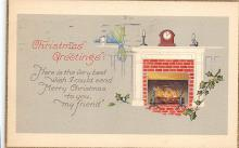 xms001305 - Christmas Post Card Old Vintage Antique Xmas Postcard