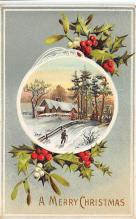 xms001327 - Christmas Post Card Old Vintage Antique Xmas Postcard