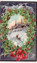 xms001373 - Christmas Post Card Old Vintage Antique Xmas Postcard