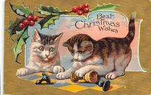xms001409 - Christmas Post Card Old Vintage Antique Xmas Postcard