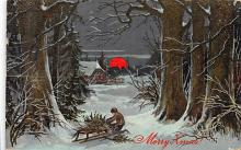 xms001413 - Christmas Post Card Old Vintage Antique Xmas Postcard