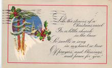 xms001423 - Christmas Post Card Old Vintage Antique Xmas Postcard