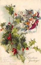xms001463 - Christmas Post Card Old Vintage Antique Xmas Postcard