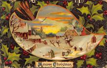 xms001485 - Christmas Post Card Old Vintage Antique Xmas Postcard