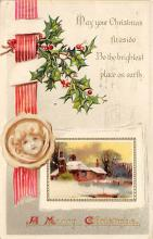 xms001505 - Christmas Post Card Old Vintage Antique Xmas Postcard