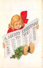 xms001523 - Christmas Post Card Old Vintage Antique Xmas Postcard