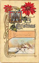 xms001531 - Christmas Post Card Old Vintage Antique Xmas Postcard