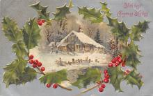 xms001533 - Christmas Post Card Old Vintage Antique Xmas Postcard