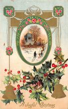 xms001557 - Christmas Post Card Old Vintage Antique Xmas Postcard