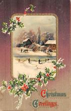 xms001569 - Christmas Post Card Old Vintage Antique Xmas Postcard