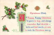 xms001575 - Christmas Post Card Old Vintage Antique Xmas Postcard