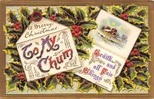 xms001737 - Christmas Post Card Old Vintage Antique Xmas Postcard