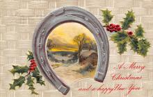 xms001743 - Christmas Post Card Old Vintage Antique Xmas Postcard