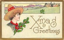 xms001745 - Christmas Post Card Old Vintage Antique Xmas Postcard