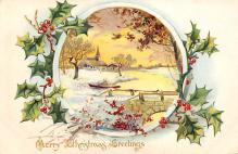 xms001757 - Christmas Post Card Old Vintage Antique Xmas Postcard