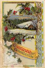 xms001763 - Christmas Post Card Old Vintage Antique Xmas Postcard