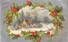 xms001777 - Christmas Post Card Old Vintage Antique Xmas Postcard