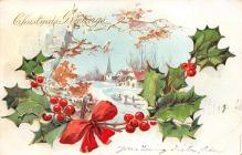 xms001791 - Christmas Post Card Old Vintage Antique Xmas Postcard