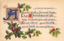 xms001801 - Christmas Post Card Old Vintage Antique Xmas Postcard