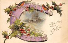 xms001813 - Christmas Post Card Old Vintage Antique Xmas Postcard