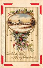 xms001935 - Christmas Post Card Old Vintage Antique Xmas Postcard