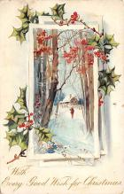 xms001963 - Christmas Post Card Old Vintage Antique Xmas Postcard