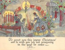 xms001999 - Christmas Post Card Old Vintage Antique Xmas Postcard