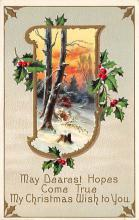 xms002421 - Christmas Post Card Antique Xmas Postcard