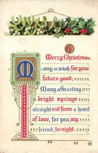 xms002423 - Christmas Post Card Antique Xmas Postcard