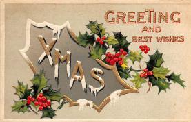 xms004923 - Christmas Post Card Antique Xmas Postcard