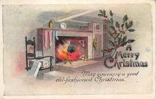xms005765 - Christmas Post Card Old Vintage Antique Xmas Postcard