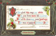 xms005791 - Christmas Post Card Old Vintage Antique Xmas Postcard