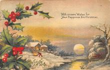 xms005873 - Christmas Post Card Old Vintage Antique Xmas Postcard
