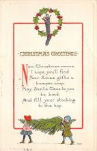 xms005889 - Christmas Post Card Old Vintage Antique Xmas Postcard