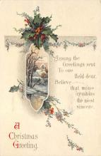 xms005895 - Christmas Post Card Old Vintage Antique Xmas Postcard
