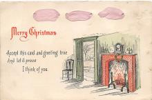 xms006023 - Christmas Post Card Old Vintage Antique Xmas Postcard