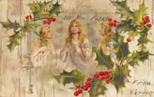 xms006041 - Christmas Post Card Old Vintage Antique Xmas Postcard