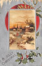 xms006093 - Christmas Post Card Old Vintage Antique Xmas Postcard