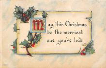 xms006143 - Christmas Post Card Old Vintage Antique Xmas Postcard