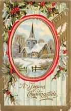 xms006163 - Christmas Post Card Old Vintage Antique Xmas Postcard