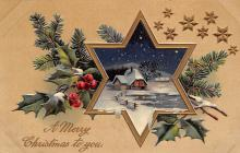 xms006167 - Christmas Post Card Old Vintage Antique Xmas Postcard